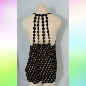 AEROPOSTALE Black Crochet Floral Back Tank Top L